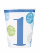 Blue Dots 1st Birthday Cups