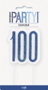 Blue Glitz 100th Candle