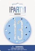 Blue Glitz 13th Badge