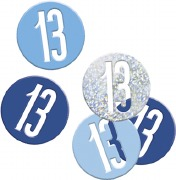 Blue Glitz 13th Confetti