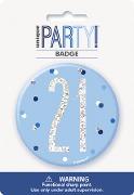 Blue Glitz 21st Badge