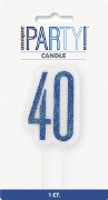 Blue Glitz 40th Candle