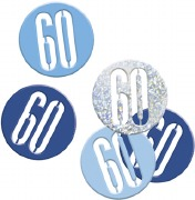 Blue Glitz 60th Confetti