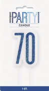 Blue Glitz 70th Candle
