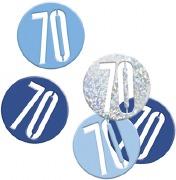 Blue Glitz 70th Confetti