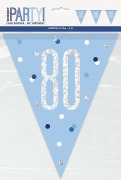 Blue Glitz 80th Bunting