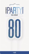 Blue Glitz 80th Candle
