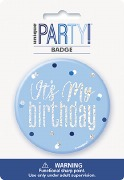 Blue Glitz Birthday Badge
