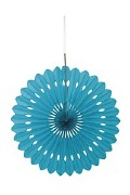Caribbean Teal Paper Fan