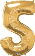Gold Number 5 Balloon