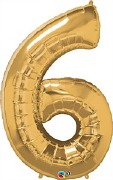 Gold Number 6 Balloon
