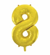 Gold Number 8 Balloon