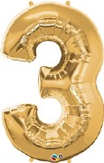 Gold Number 3 Balloon