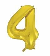 Gold Number 4 Balloon
