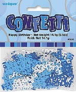 Happy Birthday Blue Confetti