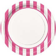 Hot Pink Stripe Plates