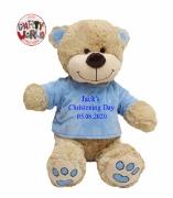 Large Blue Christening Teddy