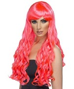 Long Curly Wig Fuchsia
