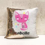 Personalise Cat Sequin Cushion