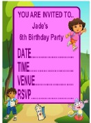 Personalised Dora Invitations