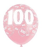 Pink 100th Birthday Balloons
