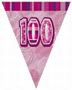 Pink 100th Birthday Bunting
