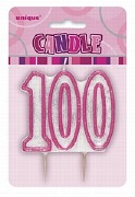 Pink 100th Birthday Candle