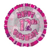 Pink 12th Birthday Balloon