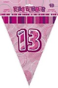 Pink 13th Birthday Bunting