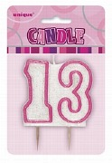 Pink 13th Birthday Candle