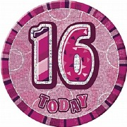 Pink 16th Birthday Badge