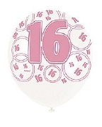 Pink 16th Birthday Balloons