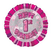 Pink 1st Birthday Foil Balloon