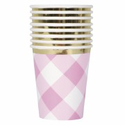 Pink Gingham 1st Party Cups