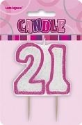 Pink 21st Birthday Candle