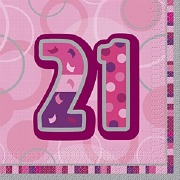 Pink 21st Birthday Napkins