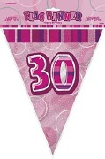 Pink 30th Birthday Bunting