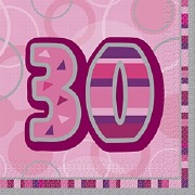 Pink 30th Birthday Napkins