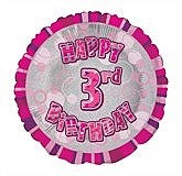 Pink 3rd Birthday Balloon
