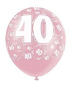 Pink 40th Birthday Balloons