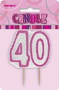 Pink 40th Birthday Candle
