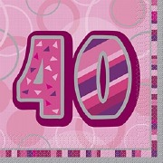 Pink 40th Birthday Napkins