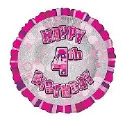 Pink 4th Birthday Balloon