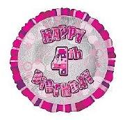 Pink 4th Birthday Balloon
