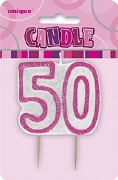Pink 50th Birthday Candle