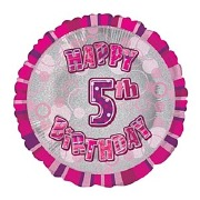 Pink 5th Birthday Balloon