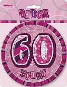 Pink 60th Birthday Badge