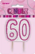 Pink 60th Birthday Candle