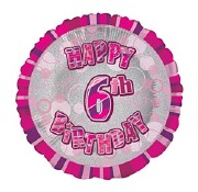 Pink 6th Birthday Balloon