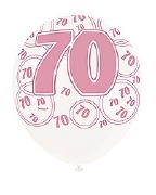 Pink 70th Birthday Balloons